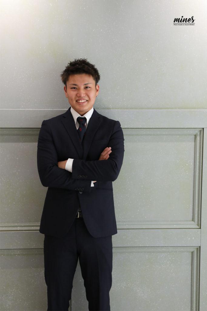 写真で成人式泉佐野市男子スーツ